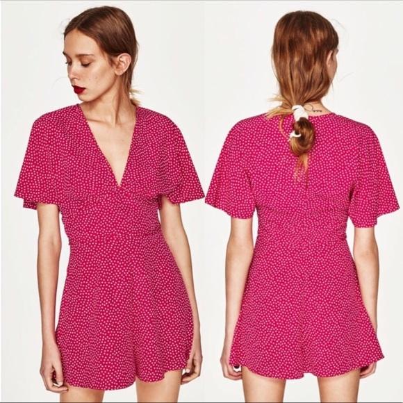 8186d1e20987 Zara pink and white polka dot romper. M 5b8aa6f90945e072aa0cb61e